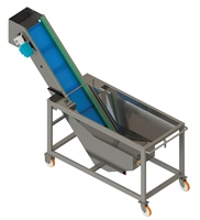 Washing tank with belt conveyor